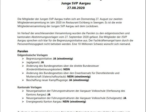 Medienmitteilung «JA zur massvollen Zuwanderung»