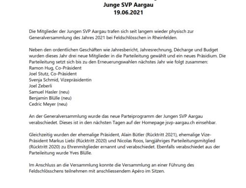 Medienmitteilung «Generalversammlung Junge SVP Aargau 2021»