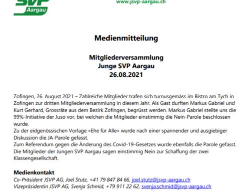 """Medienmitteilung """"Mitgliederversammlung Junge SVP Aargau"""""""